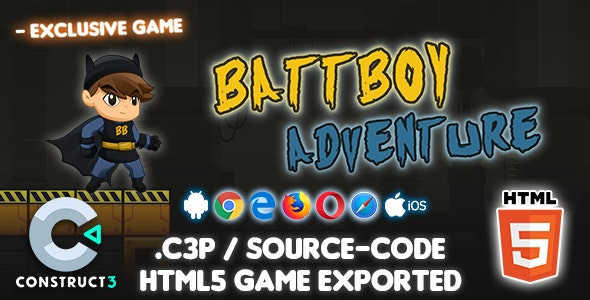 Battboy Adventure HTML5 Game - Construct 3 Source-code - CodeCanyon Item for Sale
