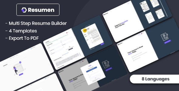 Resumen - MultiStep Resume Builder - CodeCanyon Item for Sale
