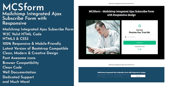 MCSform - Mailchimp Integrated Ajax Subscribe Form with Responsive - CodeCanyon Item for Sale