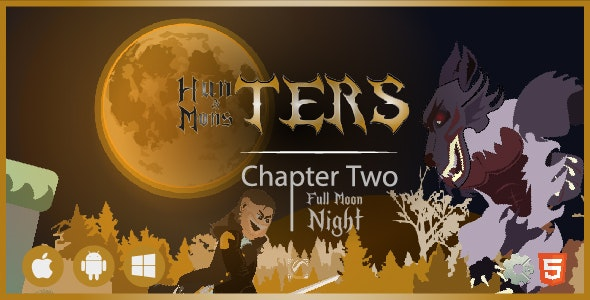 Hunters & Monsters: Full Moon Night • HTML5 + C2 Game • Ch. Two - CodeCanyon Item for Sale