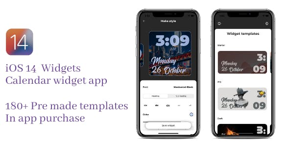 iOS14 widget with 180+ templates and in app purchase