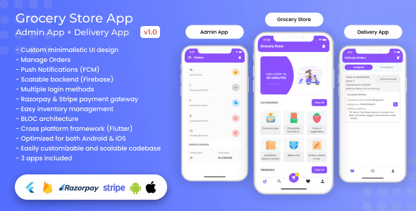 Grocery, Food, E-commerce Single Vendor Store with Admin App and Delivery App v 1.3.0