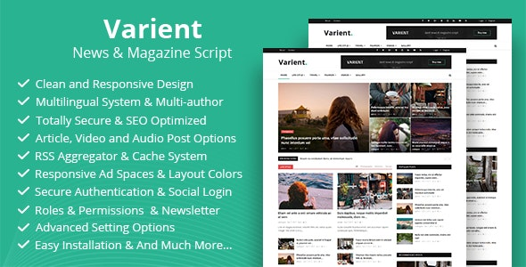 Varient - News & Magazine Script - CodeCanyon Item for Sale