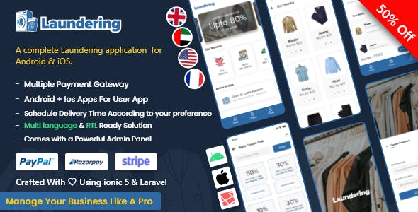 Laundry Android App + Laundry iOS App | Ionic 5 | Full Solution