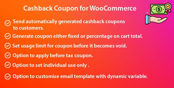 Cashback Coupon for WooCommerce