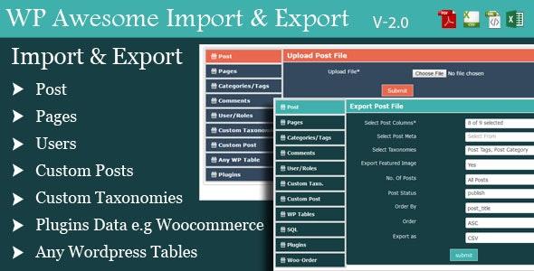 WordPress Awesome Import & Export Plugin - Import & Export WordPress Data - CodeCanyon Item for Sale