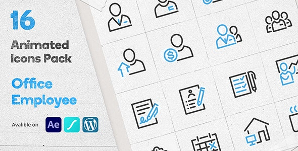 Office Employee Animated Icons Pack - Wordpress Lottie Json Animation SVG - CodeCanyon Item for Sale