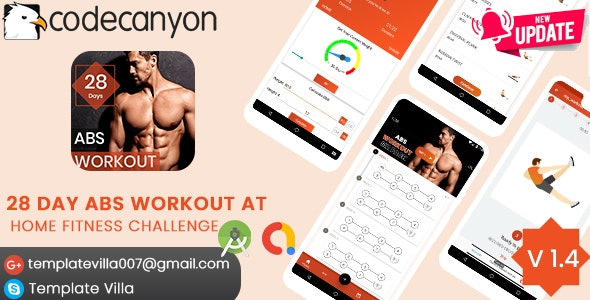 28 DAYS ABS WORKOUT AT HOME FITNESS CHALLENGE - CodeCanyon Item for Sale