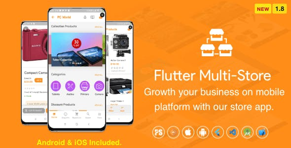 Flutter Multi-Store ( Ecommerce Mobile App for iOS & Android with same backend ) 1.8