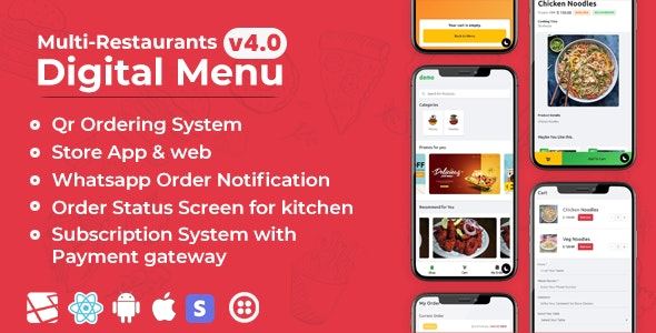 Chef - Multi-restaurant Saas - Contact less Digital Menu Admin Panel with - React Native App - CodeCanyon Item for Sale