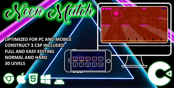 Neon Match Construct 3 HTML 5 Game