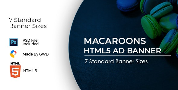 Animated Html5 Macroons Ad Banners Template - CodeCanyon Item for Sale