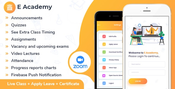 E-Academy - Online Classes / Institute / Tuition And Course Management (Android App + Admin Panel) - CodeCanyon Item for Sale