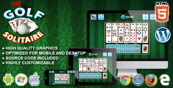 Golf Solitaire - HTML5 Card Game