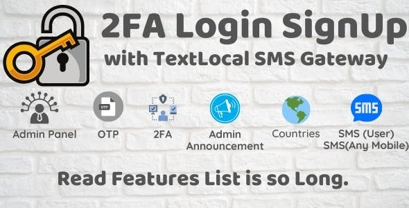 2FA Login SignUp Via TextLocal SMS with Admin Panel