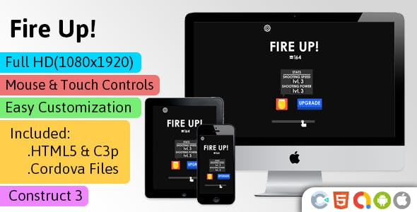 Fire Up - HTML5 Game (Construct 3 | C3p) - Arcade Game str8face