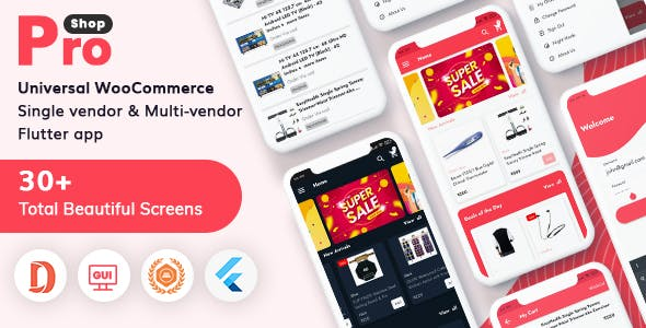 ProShop -  WooCommerce Multipurpose Single and Multi-Vendor E-commerce Flutter Full Mobile App