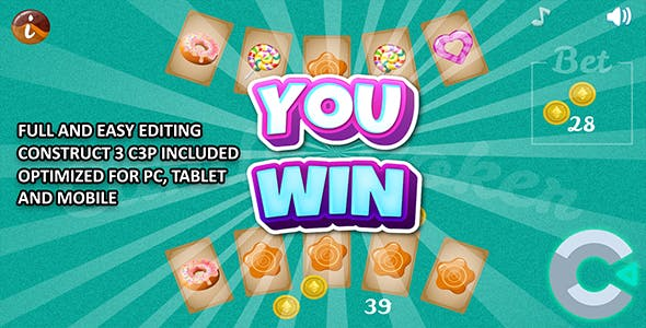 Candy Poker - HTML5 Construct 3 Game