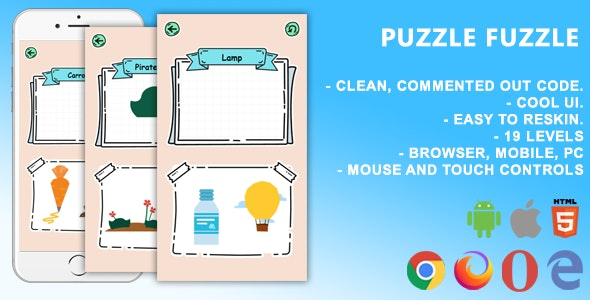 Puzzle Fuzzle. Mobile, Html5 Game. .c3p (Construct 3) - CodeCanyon Item for Sale