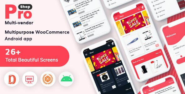 ProShop Multi-Vendor WooCommerce - E-commerce Android Full Mobile App + kotlin