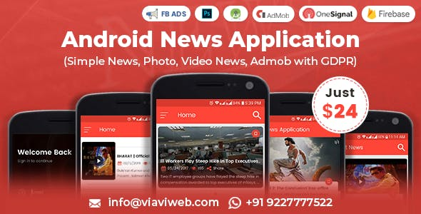Android News Application (Simple News, Photo, Video News, Admob with GDPR)