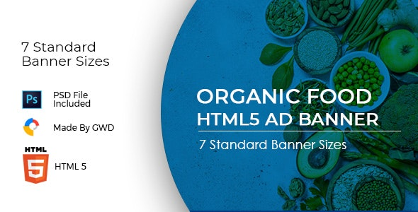 Animated Html5 Organic Food Ad Banners Template - CodeCanyon Item for Sale