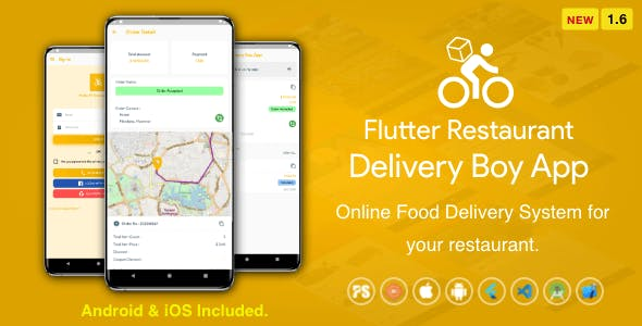 Flutter Restaurant Delivery Boy App for iOS and Android ( 1.6 )