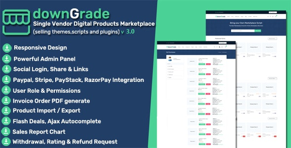 downGrade - Single Vendor Digital Products Marketplace - CodeCanyon Item for Sale