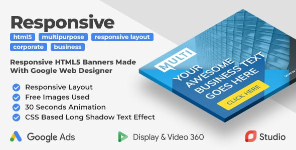Responsive - Multipurpose Animated HTML5 Banner Ad (GWD)