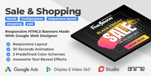 Sale & Shopping Responsive HTML5 Banner Ads (GWD)