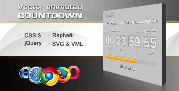 Vector Animated Countdown With Progress Bar