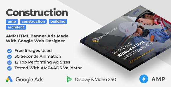 Building & Construction Animated AMP Banner Ad Templates (GWD, AMP)