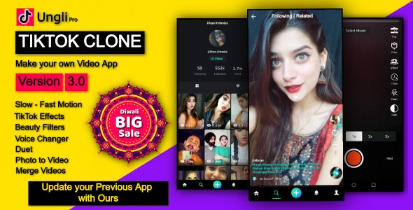 Ungli - Tiktok Clone App Script with Video Editor - Effects & Filters - CodeCanyon Item for Sale