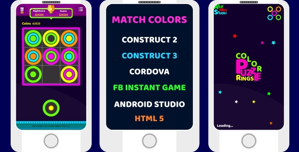 construct 2 construct 3 color ring, puzzle game - CodeCanyon Item for Sale