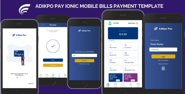 Adikpo Mobile Bills Payment Ionic Template - CodeCanyon Item for Sale