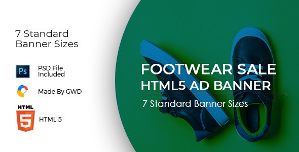 Animated Html5 Footwear Sale Ad Banners Template - CodeCanyon Item for Sale