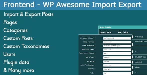Frontend Addon - WP Awesome Import Export Plugin - CodeCanyon Item for Sale