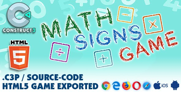 Math Signs Game HTML5 - With Construct 3 All Source-code (.c3p)
