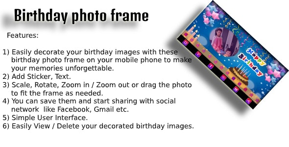 Birthday Photo Frame android app code with ad mob - CodeCanyon Item for Sale