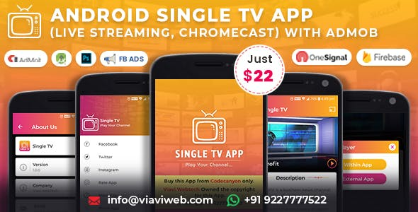 Android Single TV App (Live Streaming, Chromecast) with Admob