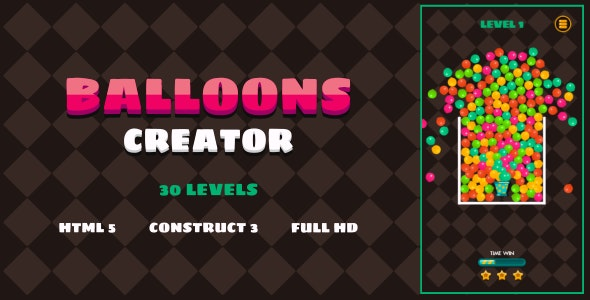 Balloons Creator - HTML5 Game (Construct3) - CodeCanyon Item for Sale
