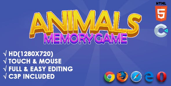 Animals Memory Game - HTML5 Game