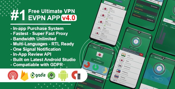 eVPN - Free Ultimate VPN | Android VPN, Billing, Phone Booster, Admob / Push Notification - CodeCanyon Item for Sale