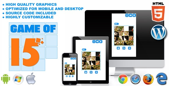 Game of 15 - HTML5 Logic Game - CodeCanyon Item for Sale