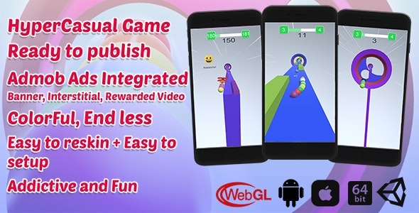 Rainbow Balls Game | Unity Casual Project With Admob Ad For Android And iOS - CodeCanyon Item for Sale