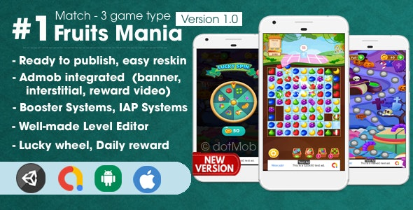 Fruit Mania - Match 3 Game Unity Template - CodeCanyon Item for Sale