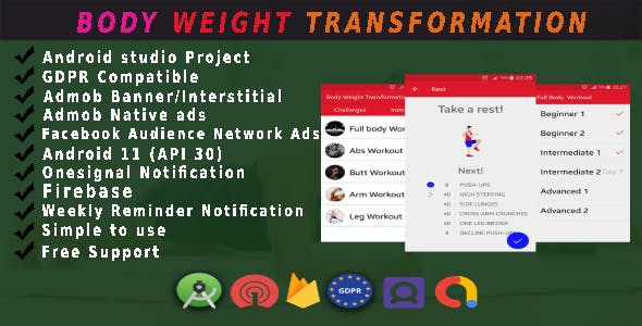 Best Body weight and fitness app android Full Source code With ADMOB, FB Ads, GDPR and api 30