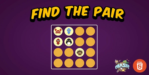 Find The Pair - HTML5 Memory Match Game - Phaser 3 - CodeCanyon Item for Sale