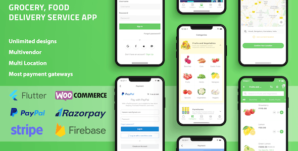 Grocery Food Delivery Service Flutter app for WooCommerce with Multivendor & Multi Location Features