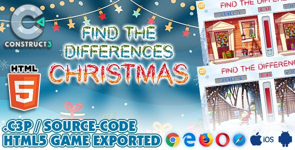 Find The Differences - Christmas Game HTML5 - With Construct 3 All Source-code (.c3p)